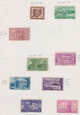 (K43-31) 1953 USA mix of 9 stamps value to 3c (I)