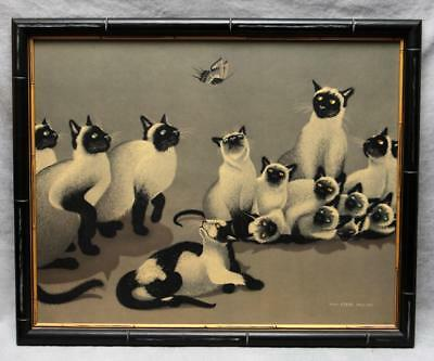 "Foussa ITAYA Siamese Cats Japanese-French Print Framed 1959 ""The Intruder"""