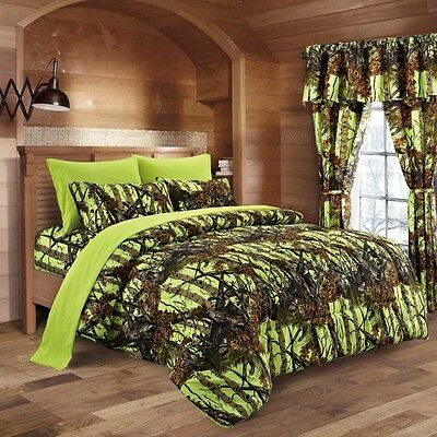 17 Pc Queen Lime Green Camo Comforter & Sheets Bedding Curtains Microfiber Woods