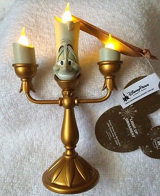 """Disney Parks Beauty And The Beast """" Lumiere Light And Flicker Christmas Ornament"""