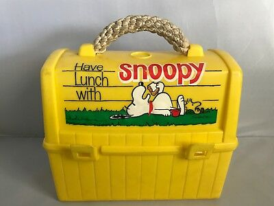 Vintage Snoopy Lunch Box With Rope Handle & Snoopy & Woodstock Thermos 1965-68