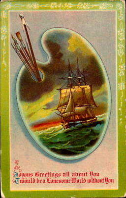 Postcard Joyous Greetings Ship Painter 1910 Postmark