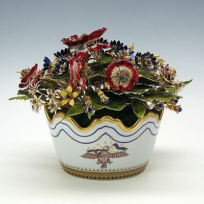 American patriotic theme Mottahedeh enameled flower centerpiece with eagle flag