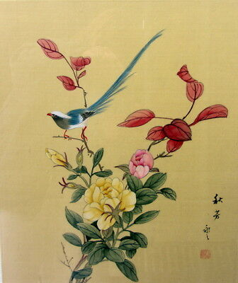 Pair of Asian Art  Scrolls Painted on Silk- Birds on Ferns and Signed Paintings