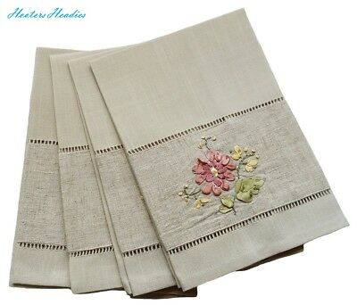 Xia Home Fashions Handmade Ribbon Embroidery Flower with Hemstitch Floral Tea To