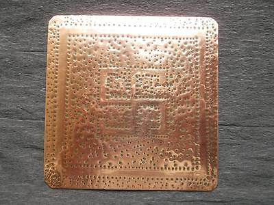 368 / Antique Hand Made Arts And Crafts Swasticka Good Luck Copper Plaque