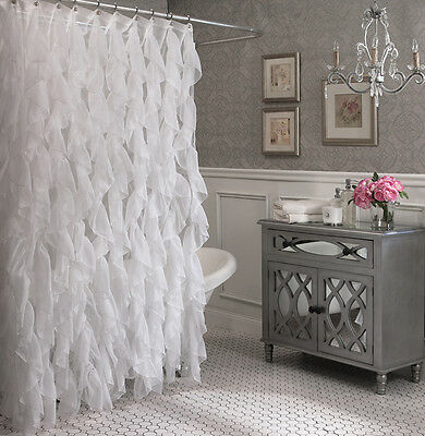 "Cascade Shabby Chic Ruffled Shower Curtain, 70"" wide & 72"" long, White, Lorraine"