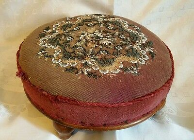 Antique Victorian beaded footstall small foot rest