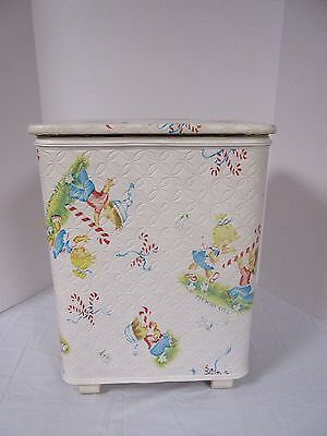 Vintage PEP'MINT KIDS Quilted Clothes Hamper Laundry Bin Redmon
