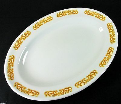 W H Grindley Caravelle Oval Platter/s Hotel Restaurant Ware Gold Scrolls 12 x 8