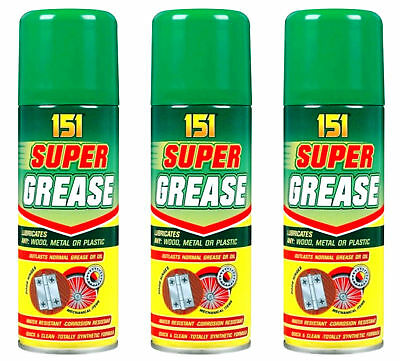 3 X Super Grease Spray 200ml Can Cycle Motorbike Car Oil Synthetic Lubricant new
