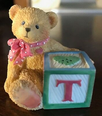 "Cherished Teddies Alphabet Name Letter ""T"" Block, 1995 Priscilla Hillman Enesco"