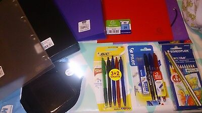 LOT FOURNITURES SCOLAIRES : Classeurs Porte-vues Crayons Stylos Sac ... ** NEUF