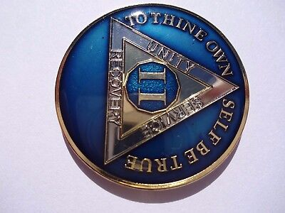 AA Blue Gold 2 Year Coin Tri-Plate Alcoholics Anonymous Medallion Sobriety Chip