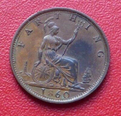 1860 Gb Queen Victoria One Farthing Coin / Toothed Beaded Border