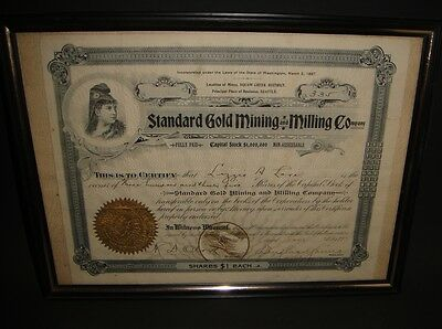Antique stock certificate Standard Gold Mining and Milling Company