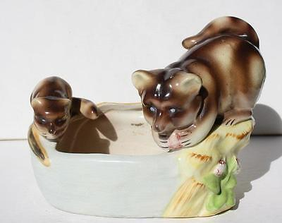 Vintage Raccoon Mommy and Baby Ceramic Planter Vase Made In Japan-AWESOME-LOOK
