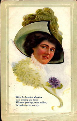 Postcard Warmest Greetings Woman in Hat 1910 Postmark
