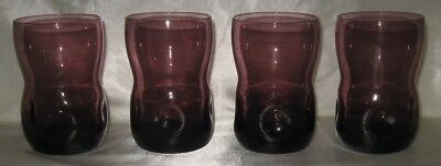 4 Amethyst Pinched Water Tumblers 8.5 Ounce