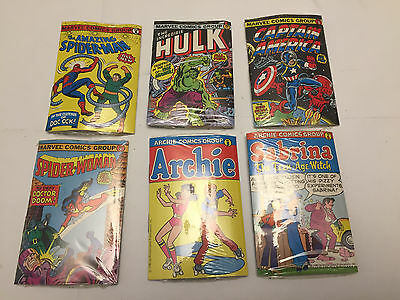 Vtg Comics Bubble Funnies Lot Complete Set of 6 Hulk, Spiderman, Archie Sealed
