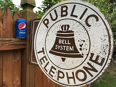 Vintage Bell System 2 Side Round Public Telephone Porcelain Sign
