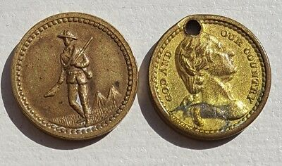 Pair of Lords Prayer Medals (2), Washington 1880's & WWI Era Tokens 13 mm