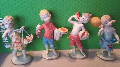 Vintage Collectible Made In Italy  Cool Kid Figures Lot Of 4 Capodimonte?