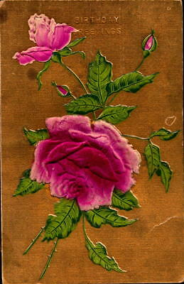 Postcard Birthday Greetings Embossed rose 1912 Postmark