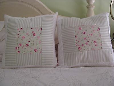One Cushion Cover - Shabby Rose with green and white stripe