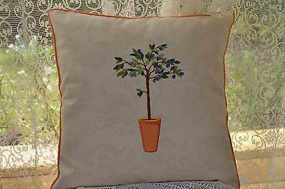 Tuscan Machine Embroidered Cushion Cover Olive Tree