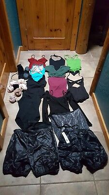 Adult small/medium BIG DANCE LOT!! Ballet leotards and skirts, jazz shoes.