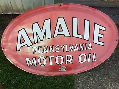 Original 1950 Amalie Pennsylvania Motor Oil 4' Oval Button Sign Signed & Dated