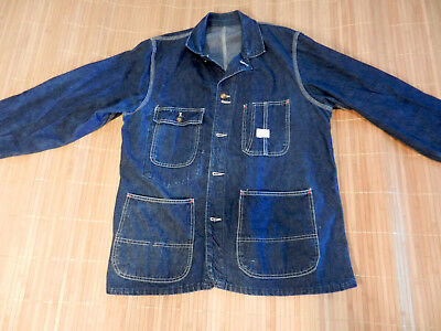 Vintage Denim Chore Jacket Penneys Indigo Sanforized Mens Coat Size Large