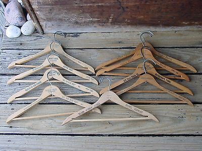 9 Vintage Wood Coat Hangers Hotel & Tailor Advertising Trapp Family Lodge VT