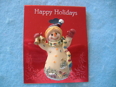 Happy Holidays Christmas Pin-Snowman With Village Scene