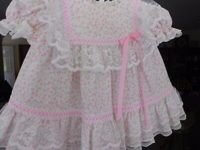 Vintage Baby Dress, Bryan, USA. 3-6 mo. Tiny Pink Flowers/Lace for baby/lg. doll