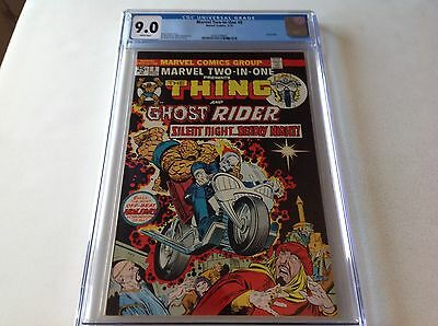 Marvel Two In One 8 Cgc 9.0 White Pgs Ghost Rider Thing Gil Kane Not Cbcs Pgx