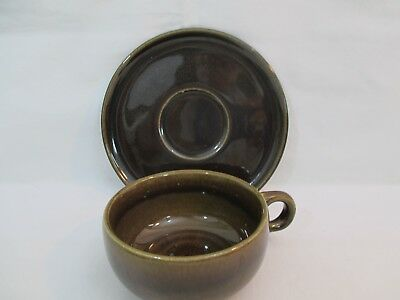 Russel Wright American Modern Black Chutney Saucer and Flat Cup Steubenville #1