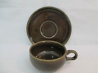Russel Wright American Modern Black Chutney Saucer and Flat Cup Steubenville #2