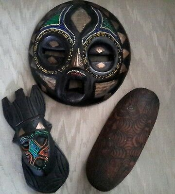 """LargeTribal Wood Hand Carved  Wall Decor Art 8.75"""" Round and two small  masks"""