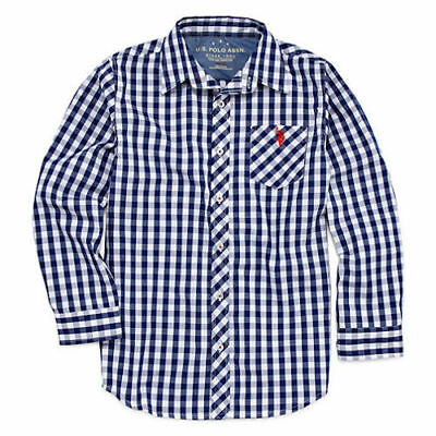 NEW U.S. Polo Assn. Long Sleeve Roll Up Button-Front Shirt Boys 100% Cotton