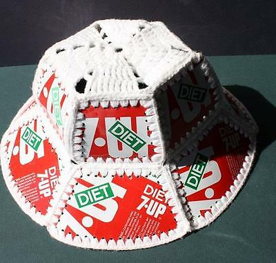 Diet 7-UP Uncola Crochet 1970's Retro Floppy Hat Made With Real Cans-Groovy Man