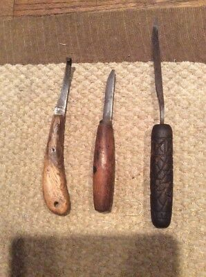 Antique Primitive Wood Knife Lot Hooked Crooked Native American