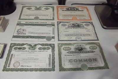 Lot of 10 Different Stock Certificates 1960's - Early 1980's Beautiful  MSRP $96