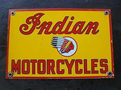 Vintage Indian Motorcycles porcelain sign scooter bicycle garage not Harley can