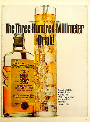 Vintage 1968 Ballantine's Scotch Whisky advertisement print ad art