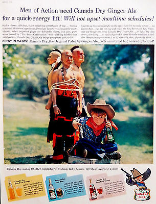 Vtg 1958 Canda Dry Ginger Ale cowboy kid and Indians advertisement print ad art