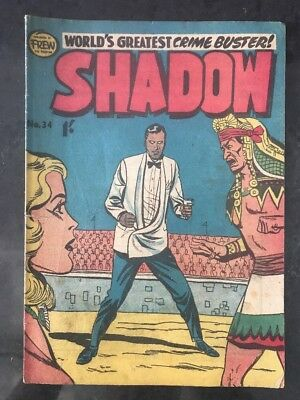 FREW THE SHADOW #34 VG AUSTRALIAN DRAWN COMIC 1950's