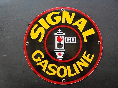 Vintage Signal Gasoline porcelain pump sign garage Traffic light can service car
