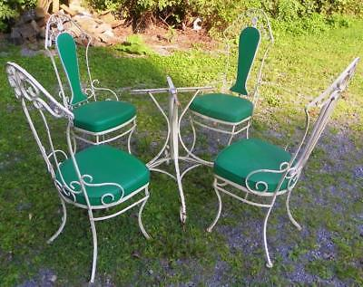 Vintage Wrought Iron 5 pc Patio Set--4 Chairs & Round Table--Great Design!!!!